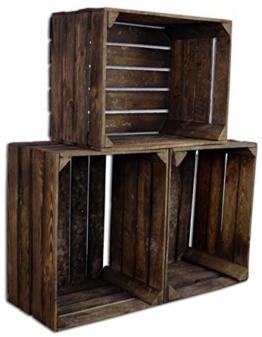 3 Set CHICCIE Vintage Holzkiste - Gebrannt - alte Obstkiste - Weinkiste - Natur Used Look (Gebrannt) -