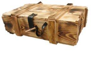 3er Holzkiste / Weinkiste / Kiste / Box / Weinverpackung aus Holz geflammt mit Klappdeckel, Kunstlederscharnier inklusive Holzwolle -