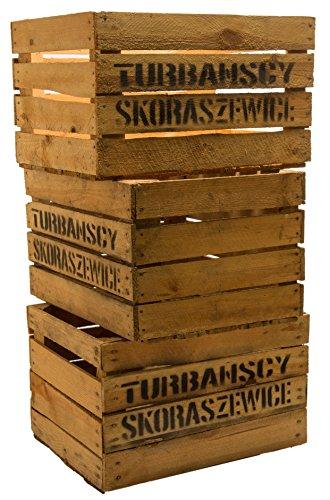 """3er set massive Obstkiste Apfelkiste Weinkiste aus dem Alten Land +++ 49 x 42 x 31 cm (GEBRAUCHT MIT AUFSCHRIFT """"TS"""") -"""