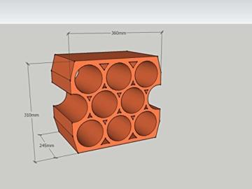 5 Stück - Weinlagersteine aus Ton - Casier 9Trou - ®Rimini Baustoffe GmbH -