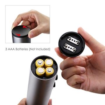 Aicok Elektrischer Korkenzieher mit Folienschneider, Drahtloser Flaschenöffner, batteriebetrieben, Silber -