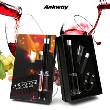 Ankway Wein Korkenzieher Weinflaschenöffner mit Folienschneider, Vakuumverschluss und Weinausgießer (4 in 1) -