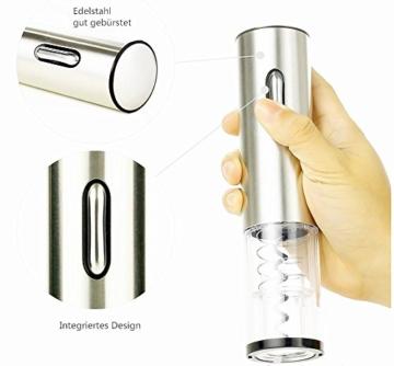 Automatisch Elektrischer Weinöffner Flaschenöffner Korkenzieher mit Folienschneider Wein Stopfen LED Beleuchtet Silber -