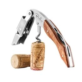 Benkia Holz Kellnermesser - Gratis Wein-Ratgeber Ebook - Profi Korkenzieher aus Edelstahl in Gastronomie Qualität mit Flaschenöffner & Folienschneider -