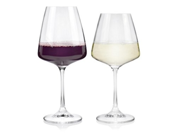 Bohemia Weinglas Set aus Kristallglas 12 teilig | Geeignet für bis zu 12 Personen | Füllmenge 360 ml & 450 ml | Maße der Weißweingläser Ø9,5x20,5 cm | Maße der Rotweingläser Ø 9x22 cm | Perfekt geeignet für den gemütlichen Abend mit Freunden und Familie -