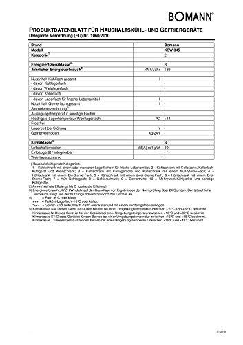 Bomann KSW 345 Weinkühlschrank Freistehend / B / 189 kWh/Jahr / 63.6 cm / 18 Flaschen / elektronische Temperatursteuerung und -einstellung / schwarz -
