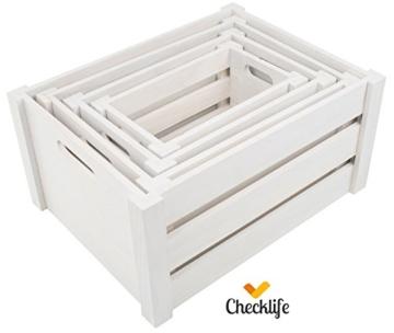 Checklife Holzkiste 4 er Set Aufbewahrungsbox Weinkiste Dekokiste weiß -