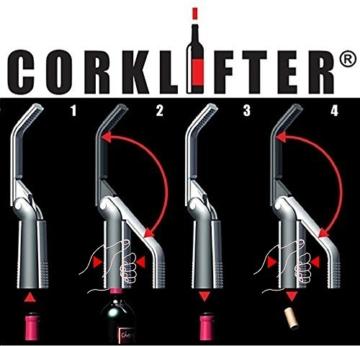 CORKLIFTER Hebelkorkenzieher, DAS ORIGINAL, Korkenzieher inklusive Folienschneider und Ersatzspirale -