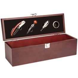 DKDS Collection Geschenk Wein-Präsentbox aus Holz mit Kellnermesser, Flaschenverschluss, Weinkragen und Ausgießer, Rot -