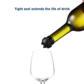 Ecooe Vacuum Weinverschluss Weinpumpe mit 4 x Stopfen Flaschenverschluss Wein Set Edelstahl Weinzubehör -