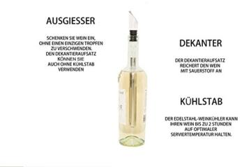 Edelstahl-Weinkühler & Tropffreier Wein-Dekantierausgießer für eine glasweise Belüftung- Kühlstab mit den meisten Sekt- & Weinflaschen kompatibel + kostenlosen Weinratgeber: Wissenwertes über Wein -
