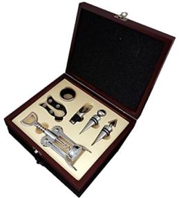 Edles Wein Sommelier Set mit Korkenzieher in eigener Box (6-teilig) -