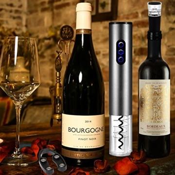 Elektrischer Korkenzieher Wein,Cadrim Wiederaufladbares Elektrisch Weinöffner Set mit Folienschneider und Weinkorken -