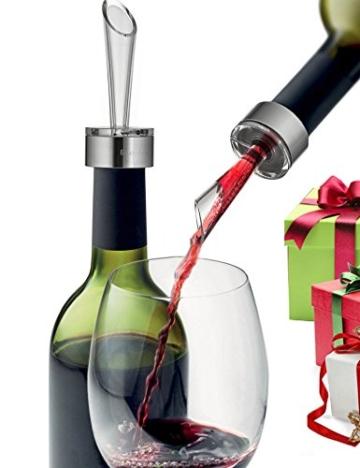 Enjoy-Arts Wein Dekantierungsausgießer/ Wein Dekanter/ Wein Belüfter/ glasweise Belüftung beim Ausschenken Weinliebhaber Geschenk (SILBRIG) -