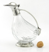 Flasche Dekanter Glas und Zinn geblasen. Für Wein und Spirituosen. Silber. Italienische Handwerkskunst . von großem Wert in Zeitobjekt -