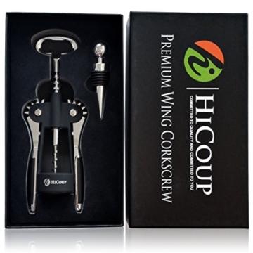 Flügel-Korkenzieher zum Öffnen von Weinen, von HiCoup - Korkenzieher als Premium-Gesamtlösung zum Öffnen von Weinen und anderen Flaschen, mit zusätzlichem Weinflaschenverschluss (Black) -