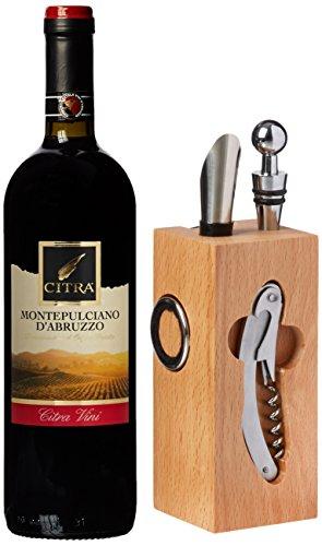 Geschenk Set Buche-Block mit Wein-Accessoires und 0,75 l Rotwein -