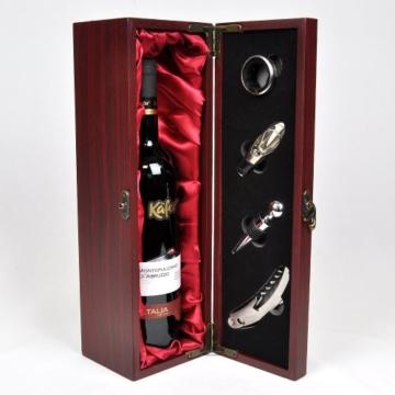 Handverpacktes Wein-Geschenkset Rendezvous mit italienischem Rotwein plus Kellnermesser in edler Holzbox -