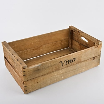 Holzkiste Vino Wein Motiv Vintage Design 20x58x35cm braun -