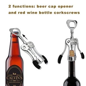 Ipow Rotwein Bier Flaschen Öffner Kapselheber Flügel Korkenzieher, mit antirutschen Griffe -