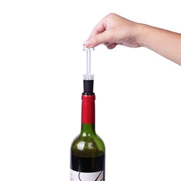 J2CC Elektrischer Weinöffner, Edelstahl Schnurloser Elektrischer Korkenzieher mit entfernbarem Folienschneider, Vakuumstopper und Ausgießer (Silber) -