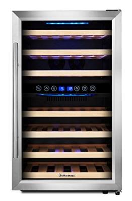 Kalamera KRC-45BSS Design Weinkühlschrank für bis zu 45 Flaschen (bis zu 310 mm Höhe),weinkühler mit Kompressor,zwei Temperaturzonen 5-10°C/10-18°C,(120 Liter, LED Bedienoberfläche, Edelstahl Glastür) -
