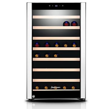 Kalamera KRC-52SZF Design Weinkühlschrank Weinflaschen Kühlschrank für bis zu 52 Flaschen ,Weinklimakuehschrank Minibar Freistehend ,Single Temperaturzonen ,5-18°C,(120 Liter, LED Bedienoberfläche, 1 Kühlzonen, Edelstahl)[Energieklasse B] -