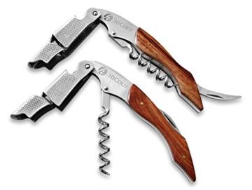 Kellnerkorkenzieher von HiCoup - Multifunktionaler Premium-Korkenzieher mit Palisanderholz, Flaschenöffner und Folienschneider (Rosewood) -