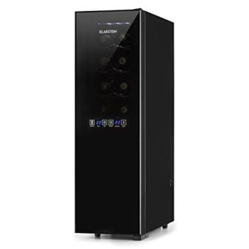 Klarstein Bellevin 16 Weinkühlschrank Getränkekühlschrank (45 Liter bis zu 16 Flaschen, 2 Zonen, 6 Regaleinschübe, Touch-Bedienung, LCD-Display) schwarz -
