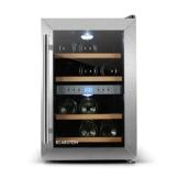 Klarstein Reserva 12 - Weinkühlschrank Getränkekühlschrank (34 Liter für 12 Flaschen, 2 Zonen, Glastür, LCD-Display) schwarz-silber -