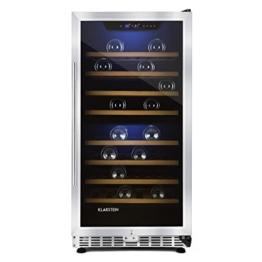 Klarstein Reserva 73D Weinkühlschrank Getränke-Kühlschrank (200L, bis 73 Flaschen, 2-Zonen, LED-Innenraumbeleuchtung, 8 Holzeinschübe, Edelstahl) schwarz -