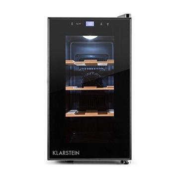 Klarstein Reserva Picola Desgn Mini Weinkühlschrank kleiner Getränkekühlschrank für 8 Flaschen Wein (3 Holzrost-Einschübe, Touch-Bedienung, Glas-Tür, zuschaltbare Innenbeleuchtung, EEK: B, Temperatur Display) schwarz -