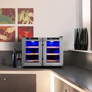 Klarstein Reserva Saloon Weinkühlschrank 12 Flaschen 40 Liter Edelstahl LED -