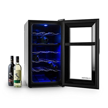 Klarstein Vinesse 18 Weinkühlschrank Getränkekühlschrank Weintemperierschrank (für 18 Wein-Flaschen, 52 Liter, Touch, LCD-Display, Glas-Tür, Innen-Beleuchtung) schwarz -