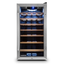 Klarstein Vivo Vino 26 Weinkühlschrank Getränkekühlschrank (88 Liter für 26 Flaschen, Holz-Regaleinschübe, Glastür, LCD-Display) schwarz-silber -