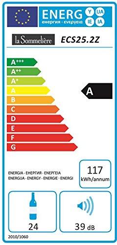 La Sommelière ECS25.2Z Weinkühlschrank / 87,0 cm Höhe / Zweizonen Weintemperierschrank mit Kompressor / Digital-Anzeige der Temperatur / edelstahl und schwarz -