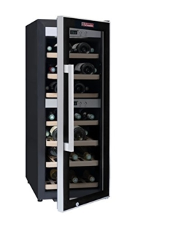 La Sommelière ECS40.2Z Weinkühlschrank / 102,0 cm Höhe / Zweizonen Weintemperierschrank mit Kompressor / Digital-Anzeige der Temperatur / edelstahl und schwarz -