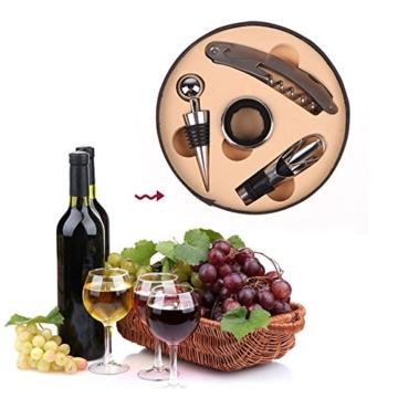 LIKECAR Weinset 4-teilig Edelstahl Wein-Zubehör-Kit Korkenzieher Korkenzieher, Weinflaschenverschluss, Tropfring, Weinflasche gesetzt Ausgießer -