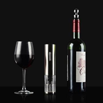 LOUISWARE 6 Stück Classic Elektrischer Korkenzieher Elektro-Wein Flaschenöffner mit abnehmbarem Freie Folienschneider Wein Foil Ausgießer und Stopper, Silber -