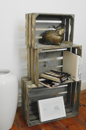 LS 3 Weinkisten Holzkisten Holzkiste Regal Obstkiste Blumenkübel Dekoration Box alt -