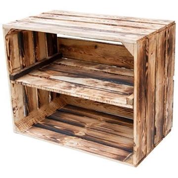 Massive geflammte Kiste als Schuh- und Bücherregal - Obstkiste, Neu +++ Natur -