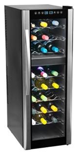 MEDION (MD 37117) Weinkühlschrank / EEK C / KK N / bis zu 27 Flaschen / 2 Temperatur Zonen / LED Display / doppelt isolierte Frontscheibe / silber -