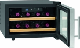 Profi Cook PC-WC 1046 Weinkühlschrank / 28 cm / 104 kWh/Jahr / Flaschenkapazität: 8  circa 0.75 Liter / Bedienfeld mit LED-Display / blau beleuchtet  / inox -