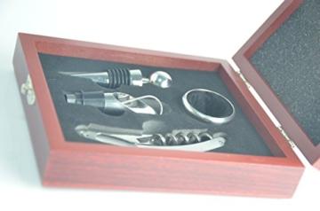 Racksoy - Stilvolle elegante Weinset Weingeschenkset Wein Flaschenöffner Geschenkbox 4stk Edelstahl Werkzeug, Tropfring+ Weinausgießer + Zinklegierung Flaschenverschluss + Öffnungsmesser -
