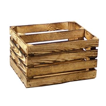Regal aus geflammter Obstkiste als Schuh- oder Bücherregal von Kistenbaron® -