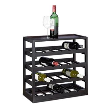 Relaxdays Weinregal aus Holz H x B x T: ca. 52 x 52 x 25 cm robustes Flaschenregal für Wein Weinflaschenregal in edlem schwarz Weinflaschenhalter mit 4 Ebenen für 20 Flaschen Flaschenhalter, schwarz -