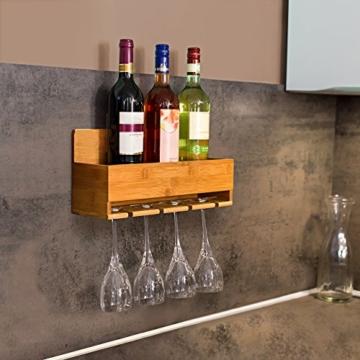 Relaxdays Weinregal mit Glashalter H x B x T: ca. 17 x 37 x 11,5 cm Flaschenregal aus Bambus mit Platz für 4 Flaschen und 4 Gläser zur Wandmontage Hängeregal Holz als Weinflaschenhalter Ablage, natur -