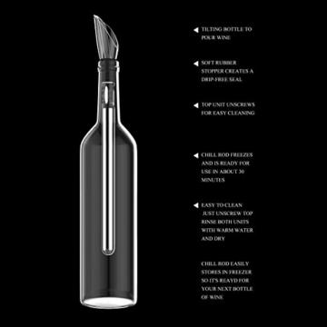 Rii 2 in 1Wein serviert Werkzeug Edelstahl POURER & CHILL ROD Weinkühler Kühlstab mit Ausgießer Weinausgießer Ausgießer Belüfter ideal für Wein -