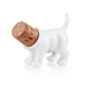 Rufus / Weinstopper aus Porzellan und Kork: Form ''Hinterteil Hundes'' -
