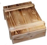 Schwarzwald Metzgerei - Weinkiste aus Holz mit individuell beflammter Oberfläche in sehr schöner Optik für 3 Flaschen - 360 x 295 x 105 mm -